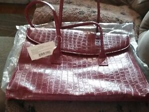 Maroon Tote Purse, large, leather-like, lined interior, briefcase, laptop case N