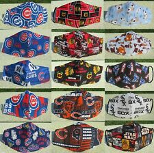 Home Made Face Masks Dogs/Cats/Cubs/Bears/Sox/Blackhawks-- Pet Rescue Fundraiser