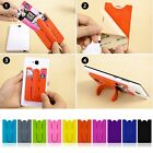 New Silicone Universal Wallet Sleeve Adhesive Credit Card Holder With kickstand