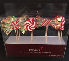 Papyrus 12-Piece Entertaining Picks (Wrapped Candy / Candy Cane)