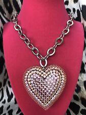 Tarina Tarantino Vintage HUGE Big Love Pink AB Lucite Heart Crystal Necklace