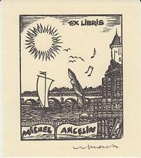 Ex-libris Michel ANCELIN gravé sur bois par Jocelyn MERCIER (1926-2006) Saumur.