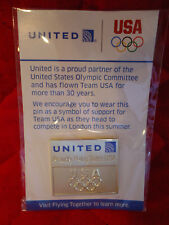 New United Airlines Olympic Rings 2012 Summer Games Gold Tone Pin London MIB