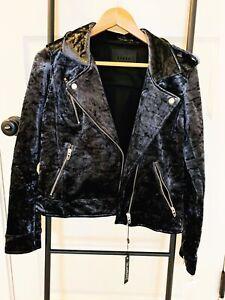 Blank NYC Velvet Moto Jacket, Women's Size M,Blue NEW