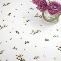 Wedding Table Decorations | Rustic Small Wooden Hearts & Worded Love Confetti