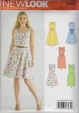 LOOK 6431 Pattern Straight or Flared Dress With Belt Detail 8-18