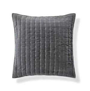 """Threshold Channel Stitch Velvet Dark Gray Cotton EURO Pillow Sham 26"""" x 26"""""""