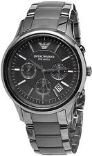 NEW EMPORIO ARMANI AR1452 BLACK CERAMIC MATTE MENS WATCH - 2 YEARS WARRANTY