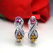 Natural Multi Tourmaline Pear Gemstone 925 Sterling Silver Women Stud Earrings