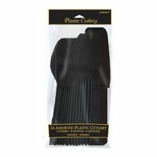 24 pieza surtido cubiertos Plástico (amscan) (cumpleaños/fiesta/vajilla) negro