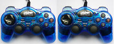 2 x Blue USB Wired Gamepad Game Controller Joypad PC Gaming - Vibration Feedback