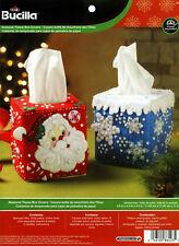 Bucilla Christmas Tissue Box Covers ~ Felt Home Decor Kit #86423 Santa Snowflake