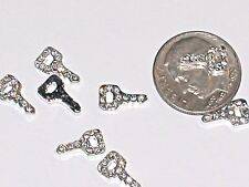 2pc Miniature Dollhouse TINY little crystal car Key Pendant charm locket 6x10mm