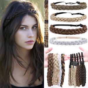Synthetic Hair Band Plaited Headband Braided Elastic Braiding Plait Hairbands AU