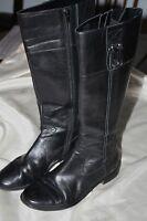 "Anne Klein 6M Black Leather 15"" Knee Boots Womens Zipper Flat 1"" Heel Casino"