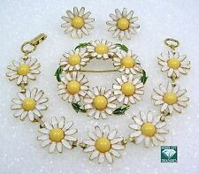 Vintage Signed Weiss Daisy Bracelet Wreath Brooch Clip Earrings Set Enamel