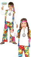 Generique Hippie Kostüm mit Großen Blumen für Kinder Flower Power Kinderkostüm