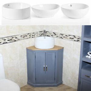 Grey Painted Bathroom Vanity Unit | Corner Oak Top Sink Cabinet | Ceramic Wash B
