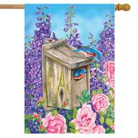 "Bluebirds And Lilacs Spring House Flag Birdhouse 28"" x 40"" Briarwood Lane"