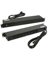 "19"" inch 1U Rack Mount 8-Outlet 15A PDU Metal Body Power Bar Strip AC 6ft Cable"