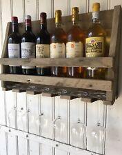 Etagére pour 6 bouteilles de vin et 6 verres en bois vieilli - création unique