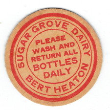 SUGAR GROVE DAIRY BERT HEATON ELWOOD AROMA INDIANA IN IND MILK BOTTLE CAP