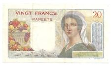 FRENCH ADMINISTRATION BANQUE DE L'INDOCHINE PAPEETE 20 FRANCS ND( 1954-58) F