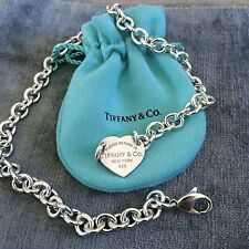 Please Return To Tiffany & Co Center Heart Tag Silver Choker Necklace
