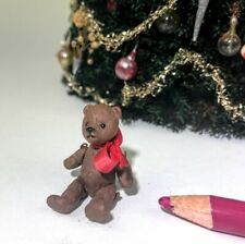 "Dollhouse Miniature toy ARTISAN jointed wire & clay TEDDY BEAR tiny 1""; 1:12"