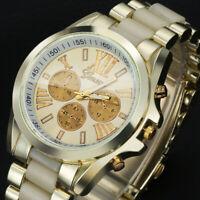 Men's Luxury Gold Dial Stainless Steel Strap Analog Quartz Wristwatch Male Watch