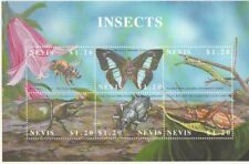Block Nevis MNH, Insects with HONEY BEE, Butterfly, Caterpillar, Beetle & Hopper