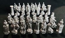 Pewter 32 Piece Chess Set Civil War Medieval Silver Metal Figurines - No Board