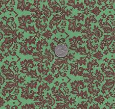 QUILT FABRIC: 100% COTTON, SMALL DAMASK CHOCOLATE ON GREEN  PD-04 By The Yard
