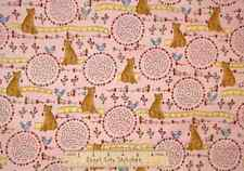 Sewing Themed Kitty Cat Cotton Fabric Pink Henry Glass Stitches - Yard