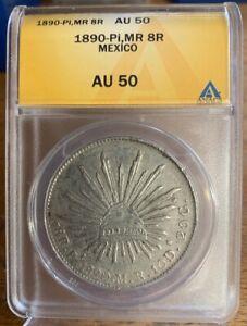 1890-Pi,MR 8R POTOSI Mexico 8 Reales ANACS AU50