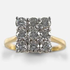 18ct Gold 1.35 Carat Diamond Cluster Ring, 2001