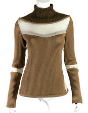UNDERCOVER Jun Takahashi Brown Wool & Taupe Chiffon Turtleneck Sweater 3 L