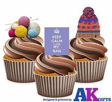 Mothers Day I Love My Nan Knitting Mix 12 Edible Stand Up Cup Cake Toppers