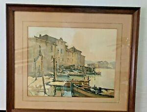 Vintage Nicolas Markovitch 'Marc' Lithograph on Paper Fishing Boats Signed