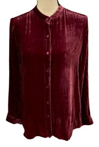 Eileen Fisher Hibiscus Mandarin Collar Velvet Long Top Size Large $278
