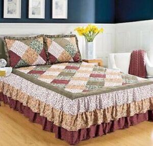 Quilted Floral Print Bedspread Oakridge Triple Ruffle Full Burgundy NO SHAMS