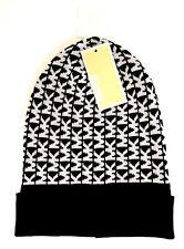 Womens Michael by Michael Kors MK Logo Beanie Winter Cap Black White MSRP   42 486319b80f5d