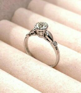 Platinum Old Cut Diamond Solitaire Ring 0.50ct Size M 2.6g Preloved VAL $3100