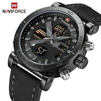 NAVIFORCE Mens Quartz Wristwatch Waterproof Leather Sport Digital Watches T