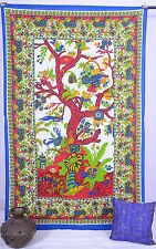 Indian Wall Hanging Hippie Decorative Bedcover Tree Of Life Cotton Twin Tapestry
