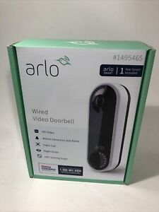 Arlo Wired Video Doorbell HD With 1 Year Arlo Smart Service Included