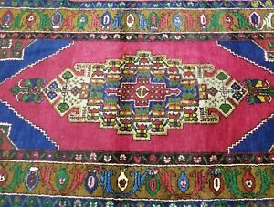 "Bohemian Vintage 1950-1960s Vibrant Vegy Dye Wool Pile Area Rug 4'6""×9'"