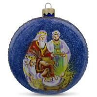 Three Wise Men's Gifts Nativity Scene Glass Ball Christmas Ornament 3.25 Inches