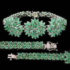 Unheated Marquise Green Emerald 5x2.5mm 925 Sterling Silver Bracelet 7.5 Inches