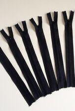 6 fermeture éclair nylon 20cm non séparable noir zipper